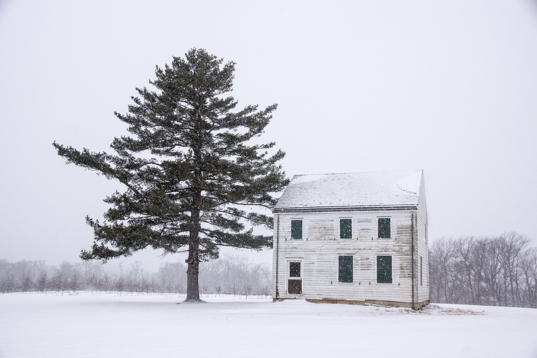 Monmouth Battlefield House in Snow